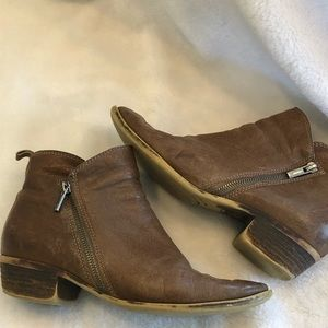 Lucky Brand Bryton Leather Brown Booties 8.5